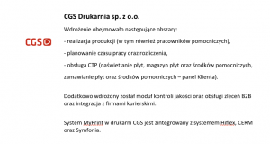 Wdrożenie systemu MyPrint w drukarni CGS